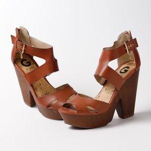 Guess brown platform wedge sandals